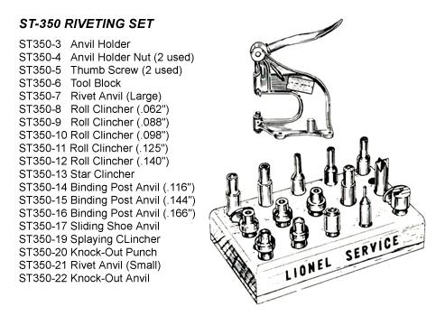 E-Unit Repair Lionel Factory Instruction Manual For Rivet Press